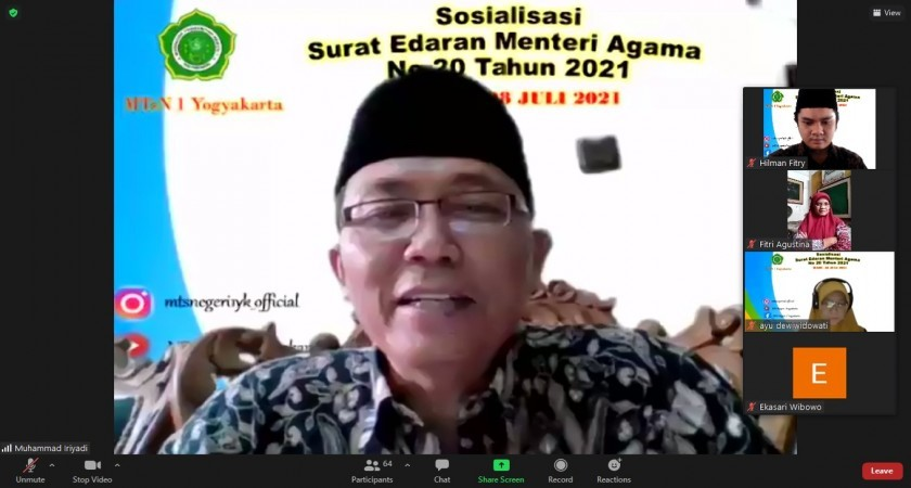 Kepala MTsN 1 Yogyakarata Gelar Sosialisasi SE Menag No 20 Tahun 2021